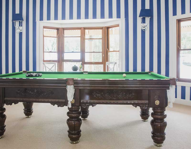 pool room blue and white wall stripes home page