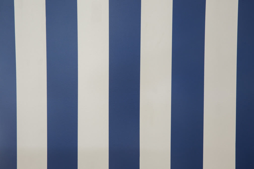 blue and white painted wall stripes