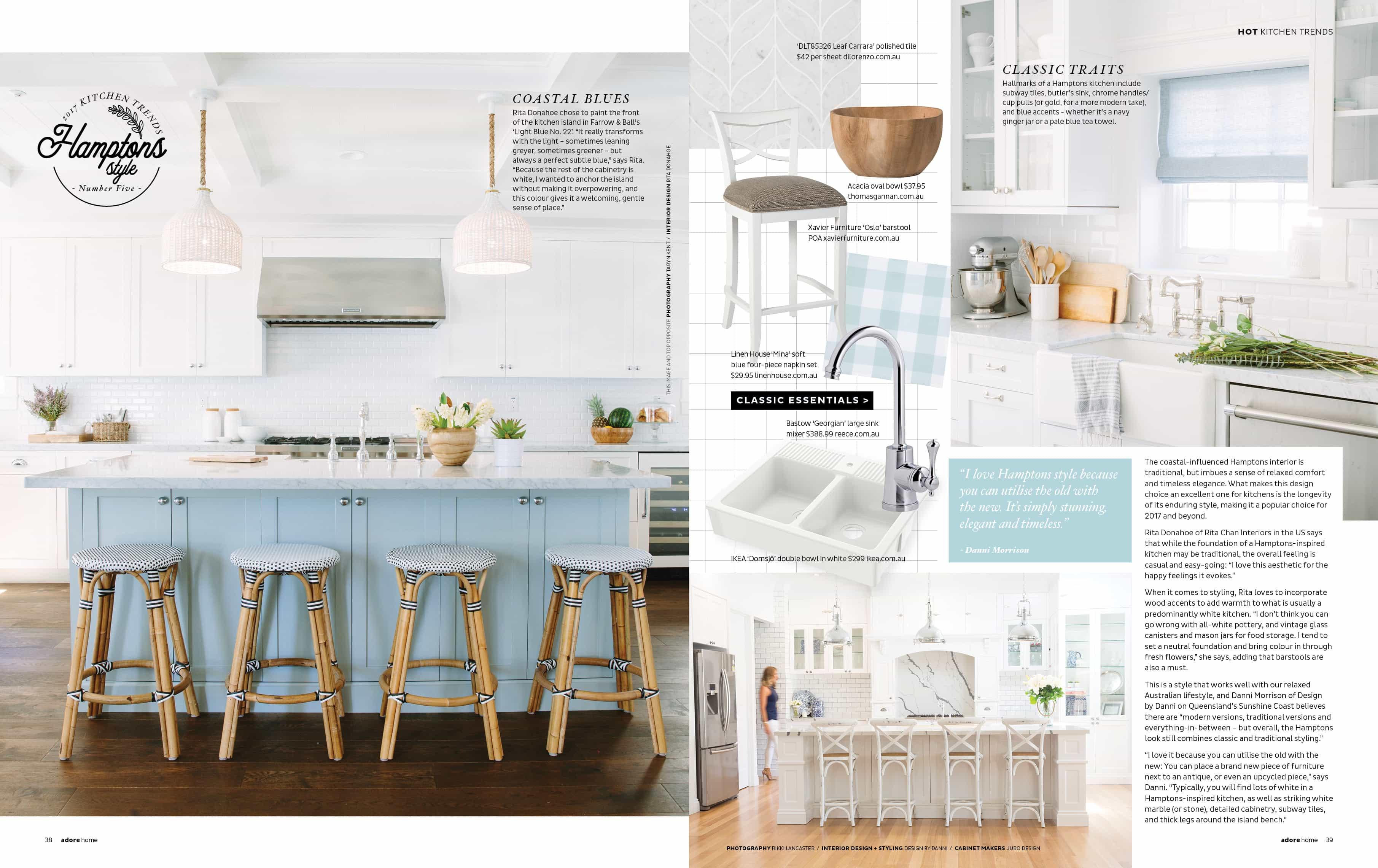 Adore Home Magazine features Danni\'s Hamptons Style Ktichen