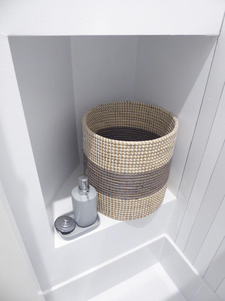 kids toilet nook detail and basket after renovation