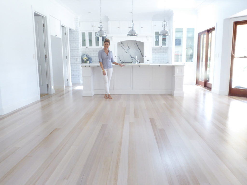 Tasmanian Oak Flooring after restoration of sanding, white wash and polyurethane coating