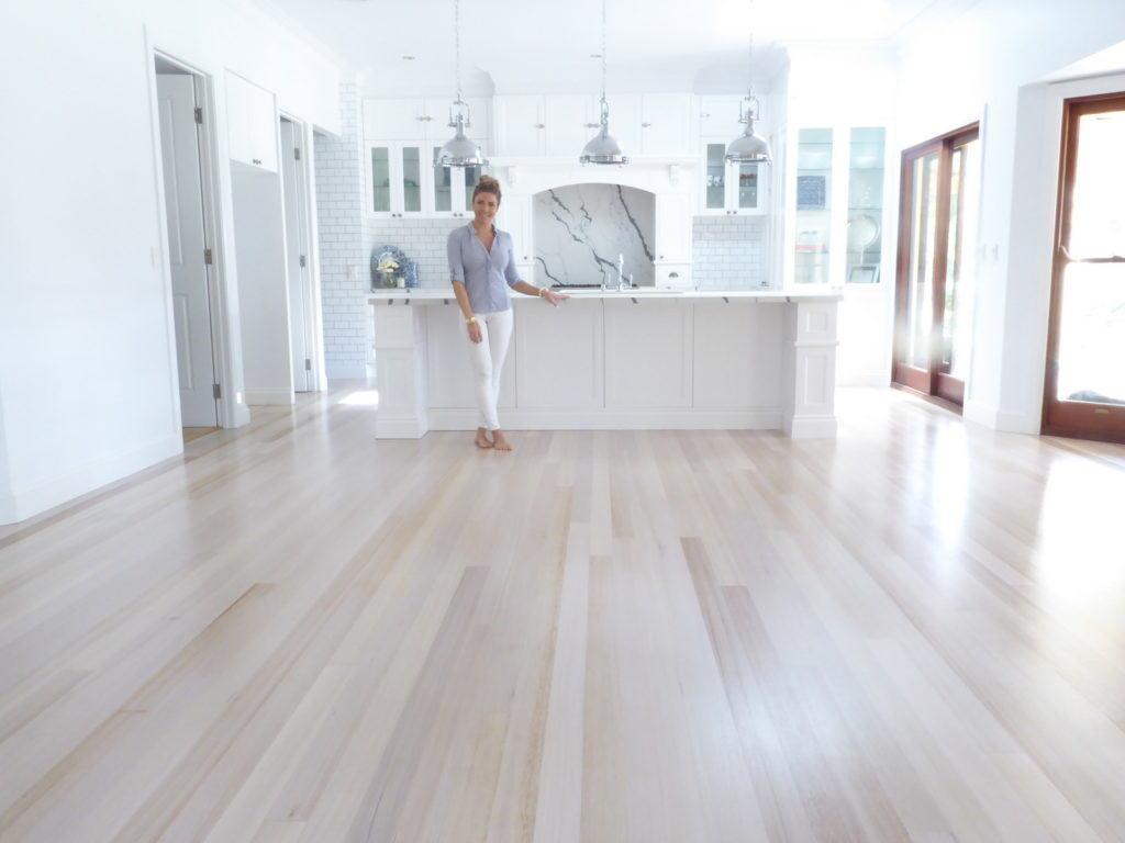 Tasmanian Oak Flooring after restoration of sanding, white wash and polyurethane coating