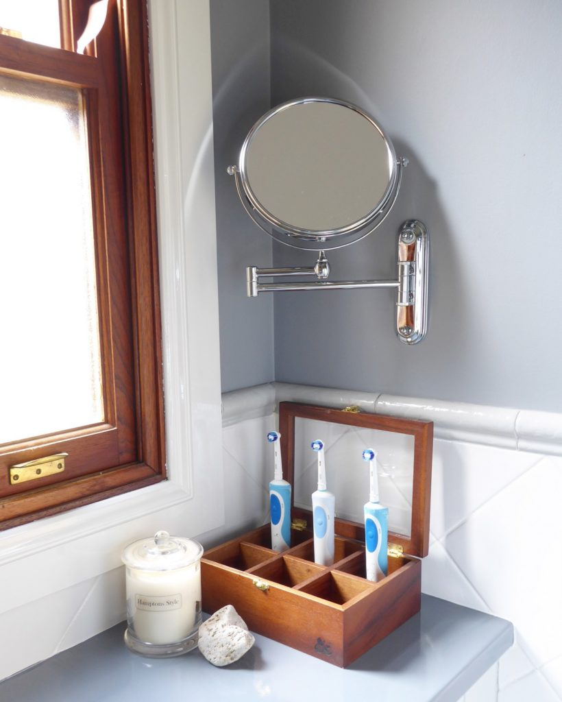 kids bathroom makeover completed tea chest for toothbrush and extendable mirror