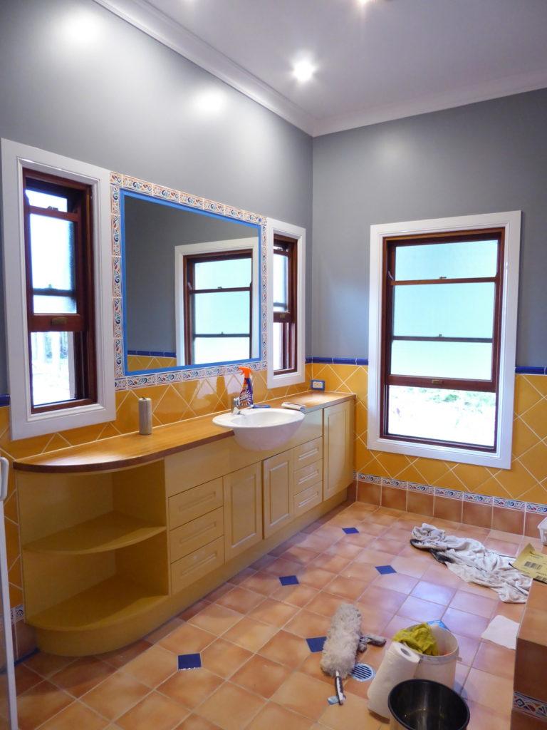 Original kids bathroom with walls painted grey