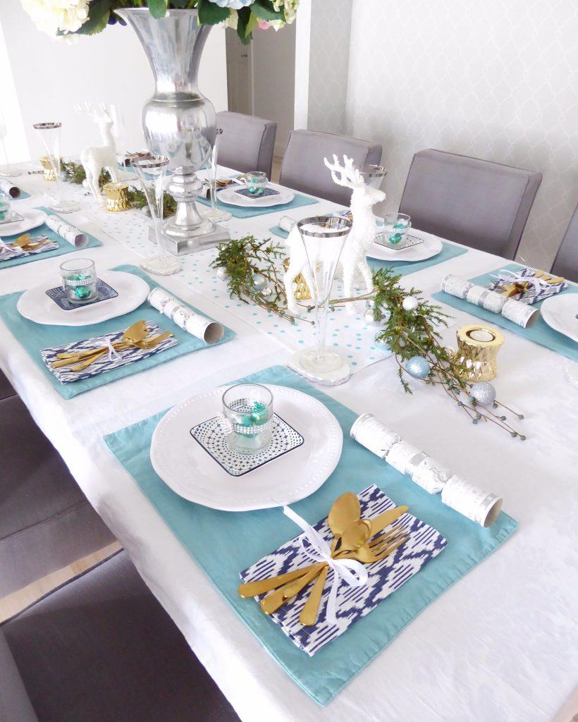 Christmas Day table set up far shot angled