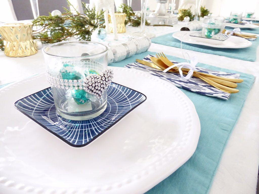 Christmas Day table set up plate stack close up