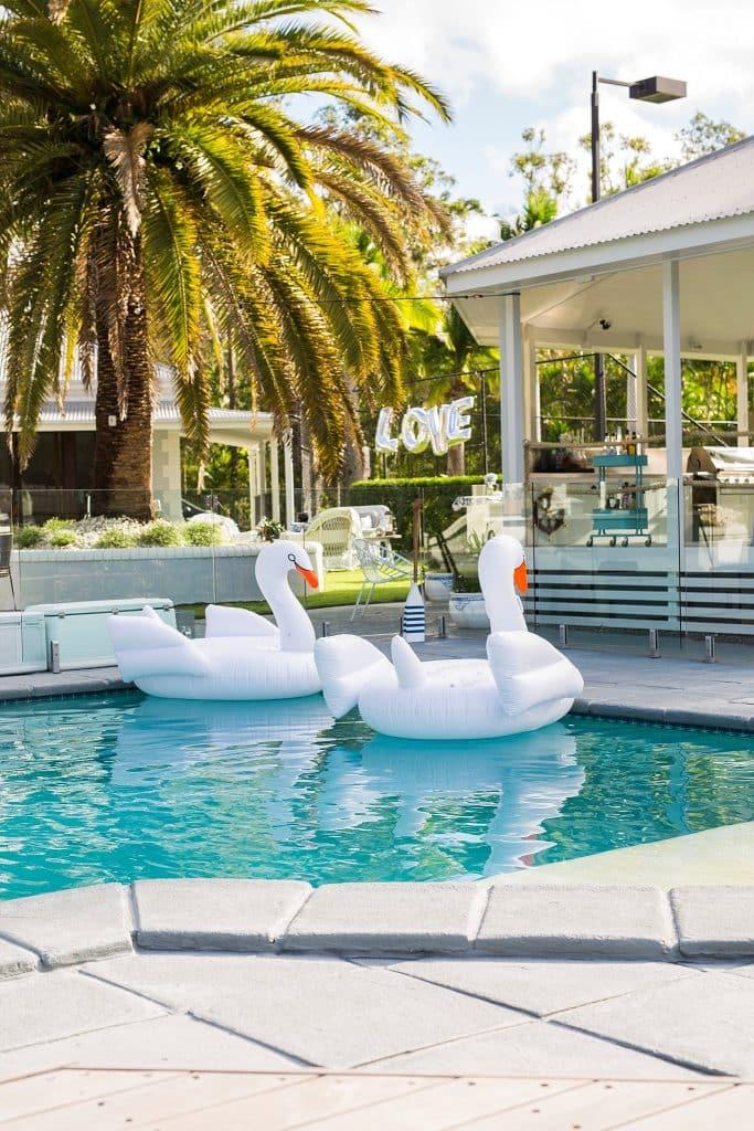 gazebo pool and swan detail