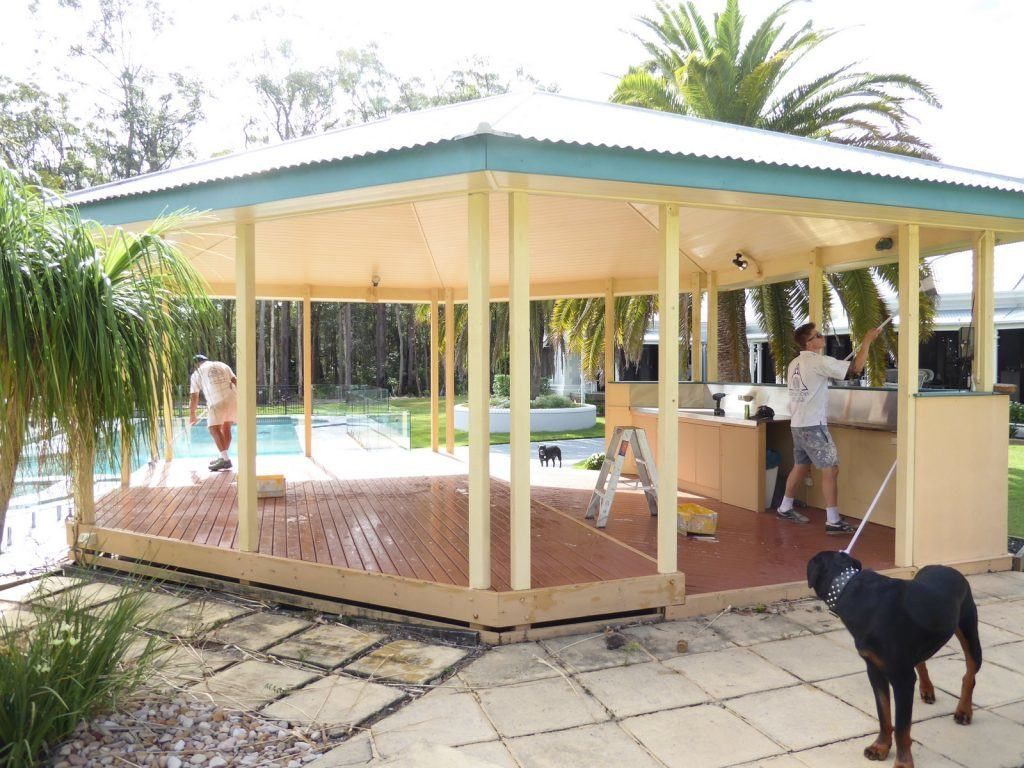 the original gazebo being prepared for painting