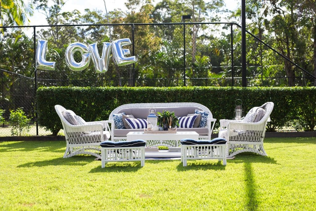 engagement party outdoor lounge setting detail