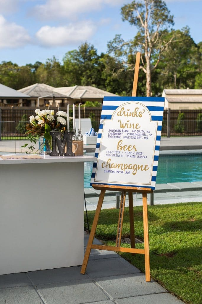 engagement party detail drinks sign and bar