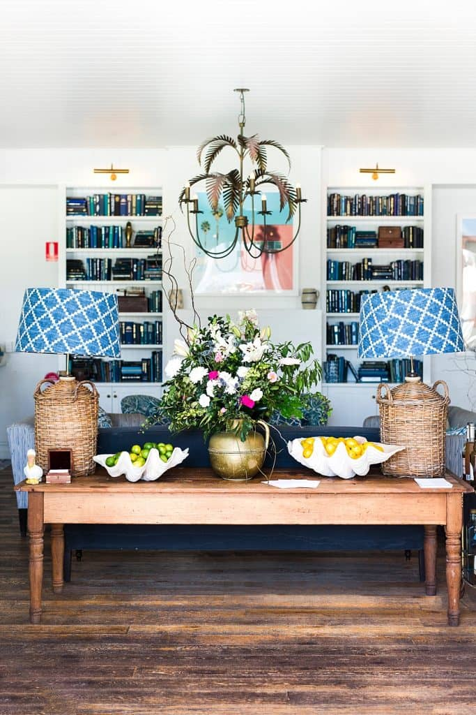 halcyon house lounge area and lamps byron bay getaway
