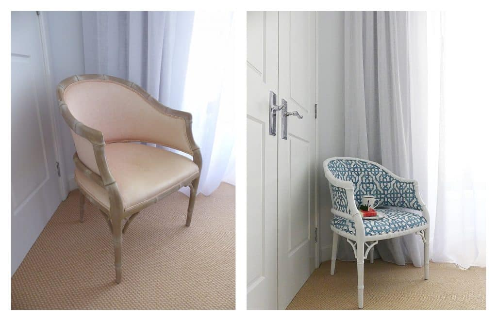 guest bedroom accent chair before and after