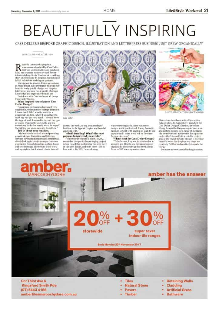 The Sunshine Coast Daily weekend edition Life and Style magazine - Beautifully Inspiring Cass Deller Design