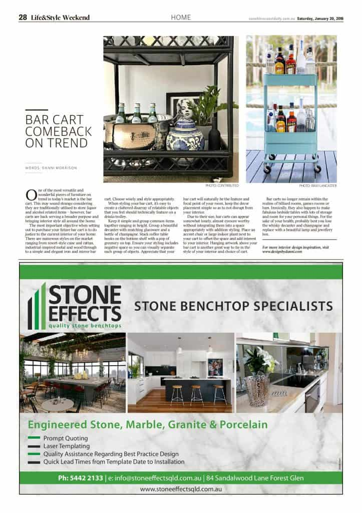 The Sunshine Coast Daily weekend edition Life and Style magazine - Bar cart comeback on trend
