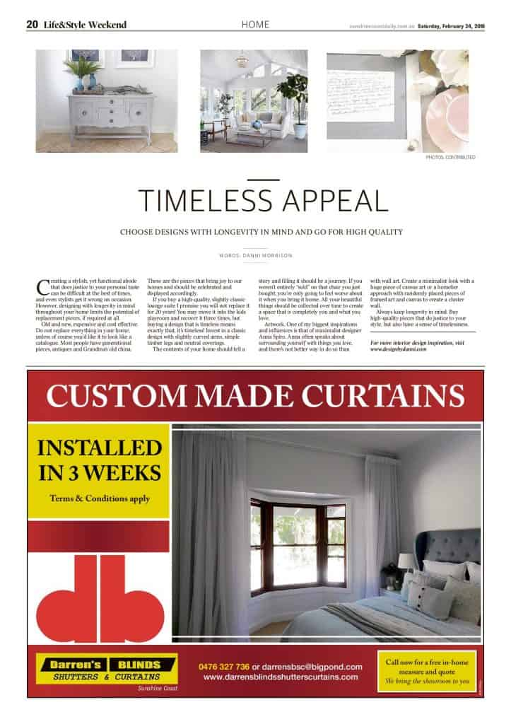 The Sunshine Coast Daily weekend edition Life and Style magazine - Timeless Appeal