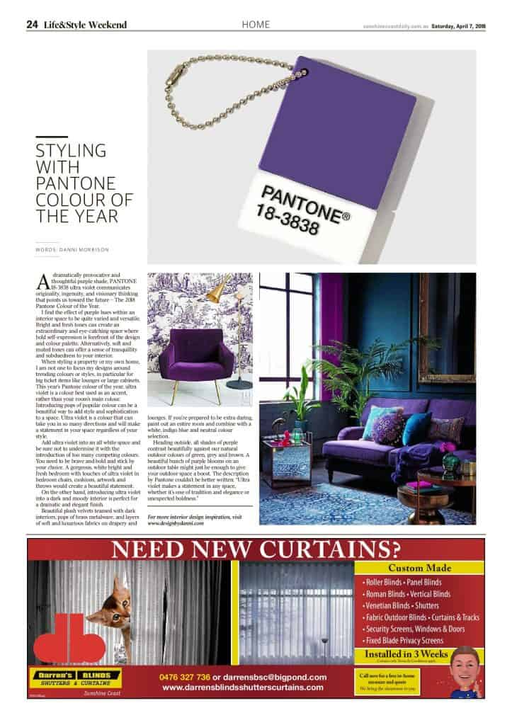 The Sunshine Coast Daily weekend edition Life and Style magazine - Styling with Pantone Colour of the Year