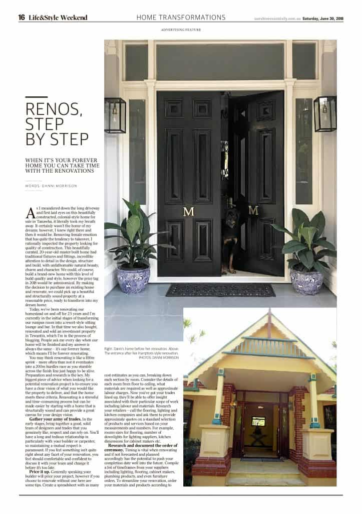 The Sunshine Coast Daily weekend edition Life and Style magazine - renos step by step