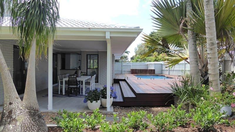 tewantin back exterior after renovation backyard outdoor entertaining pool and deck