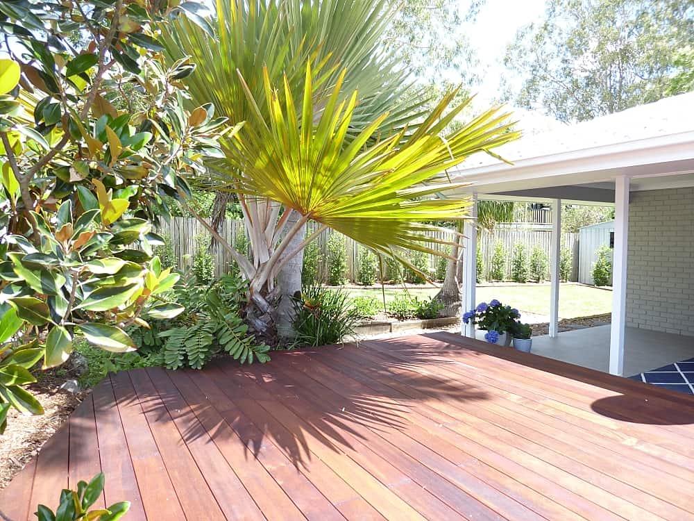 tewantin back exterior after renovation timber deck gardens and backyard