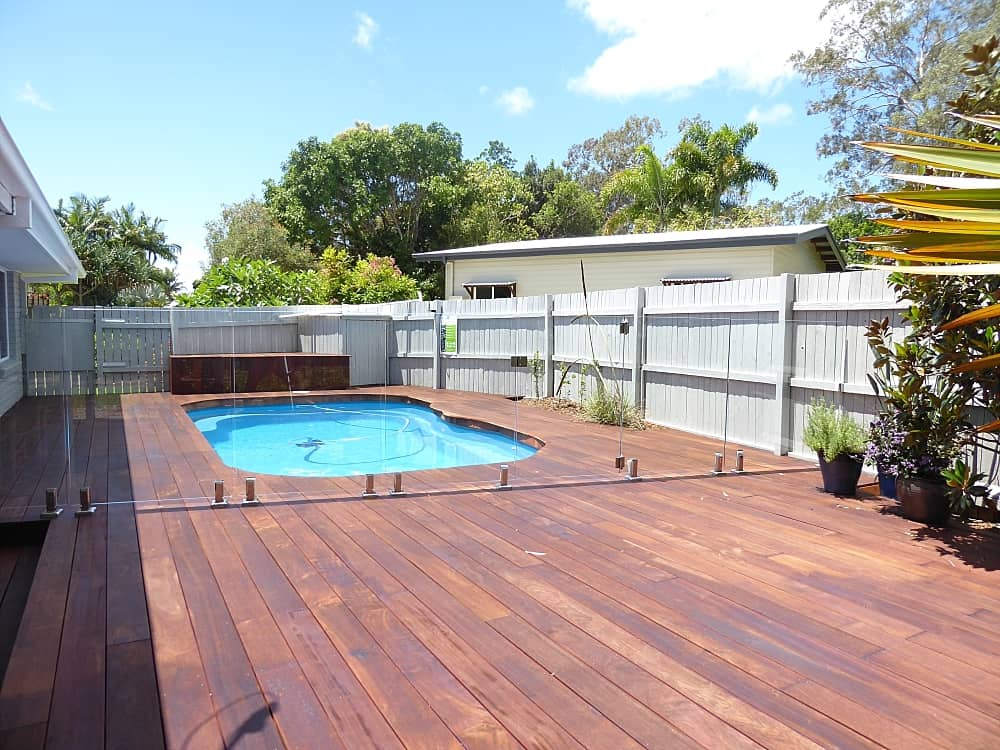tewantin back exterior after renovation timber deck around pool