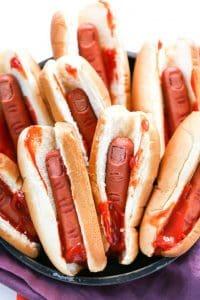 halloween styling - a human finger hotdog