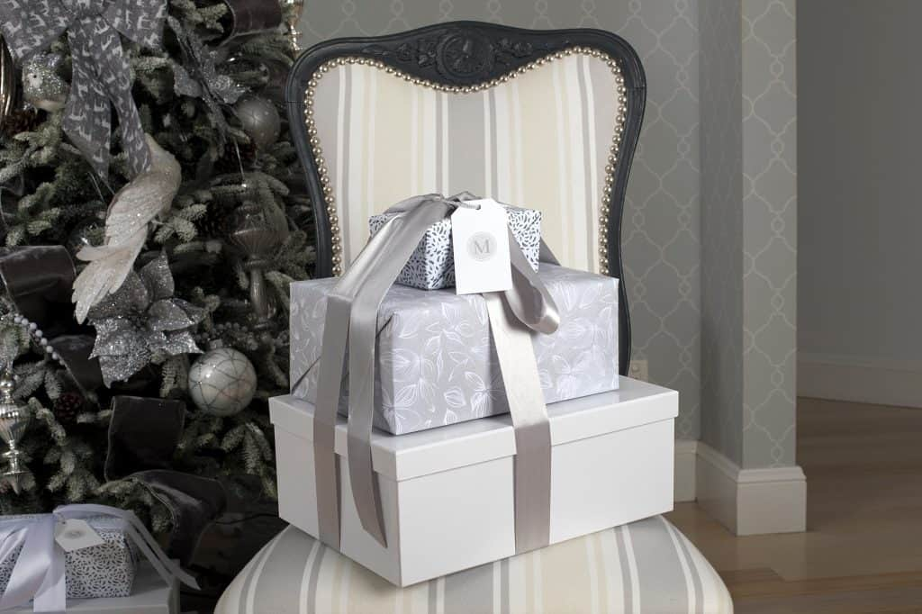 Balsam Hill Christmas Collaboration - queen ann chair and gifts