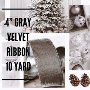 Balsalm Hill Christmas Home Tour 4' Gray Velvet Ribbon 10 Yard