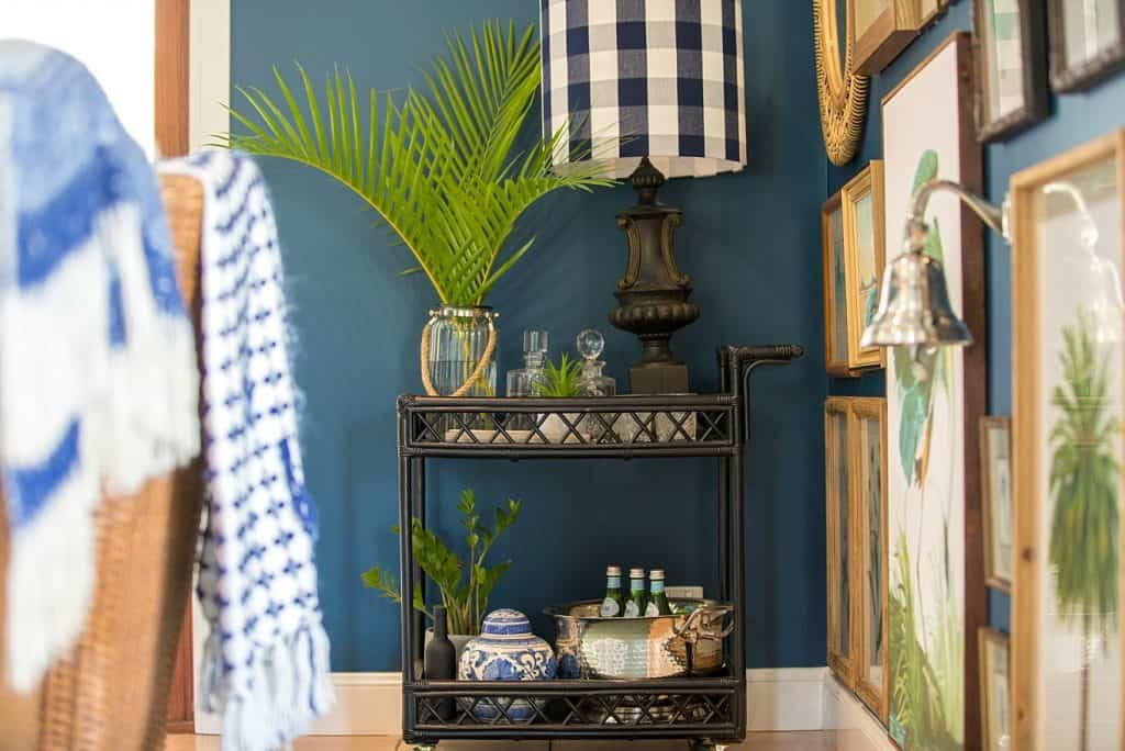 Tanawha formal lounge after renovation - bar cart and wall art details